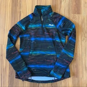 FILA Black Rainbow 1/4 Zip Pullover Jacket